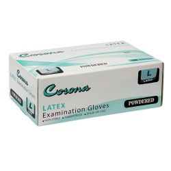 Corona Disposable Latex Gloves Set of 100, Large