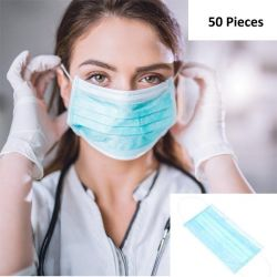 DISPOSABLE PROTECTIVE FACE MASK BLUE, 3PLY WITH EAR LOOP, 50 PCS